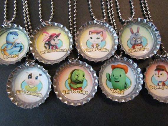 Sheriff Callie Character set Bottle Cap Party favors (8) / add more for 2 dollars each