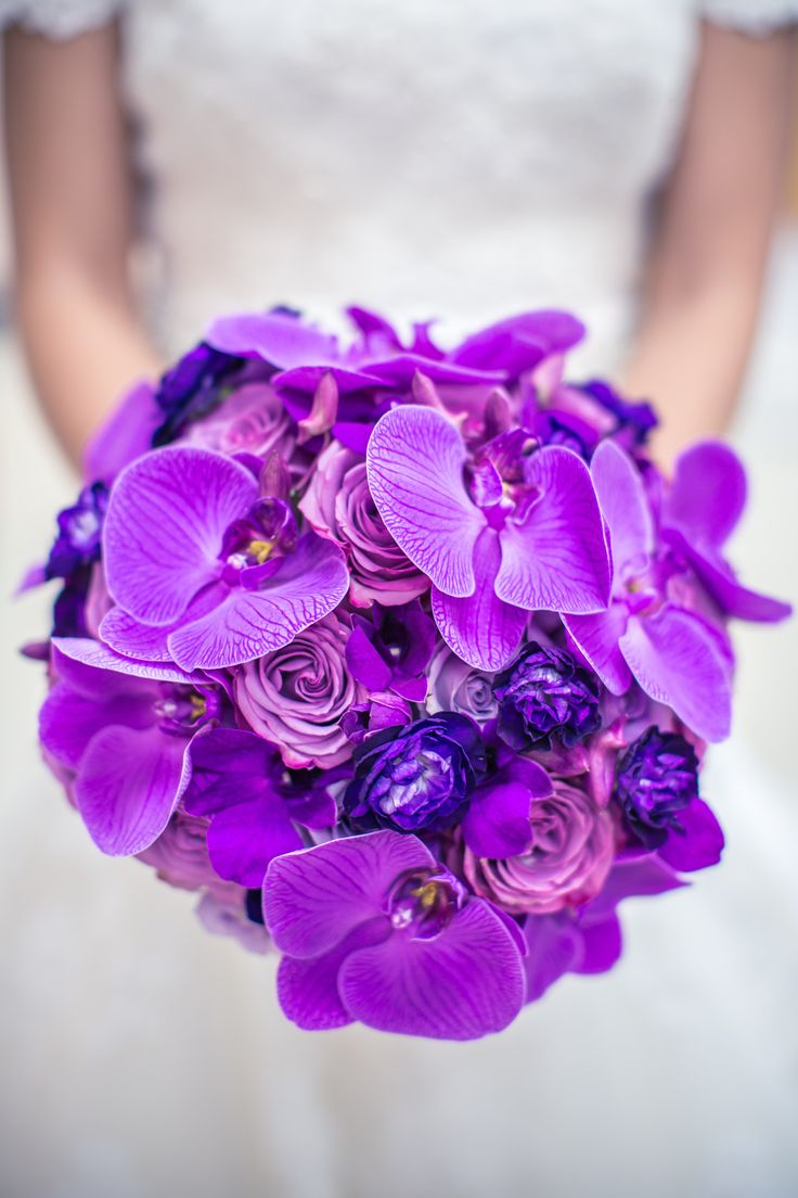 Vibrant Purple Bridal Bouquet | The Bloom Room LLC | Ama Photography | TheKnot.com