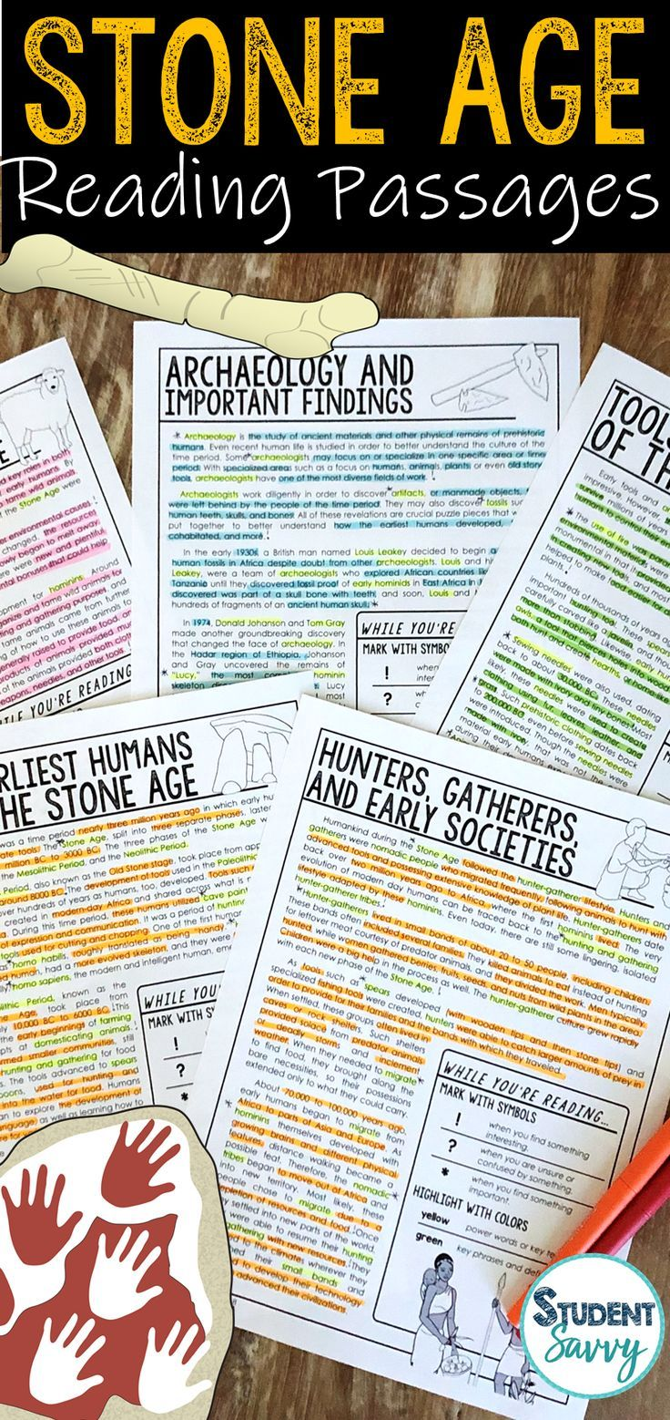 Early Human Worksheets The Stone Reading Comprehension Passages Questions And Annotations Archeolog Reading Passages Early Humans 6th Grade Social Studies [ 1558 x 736 Pixel ]