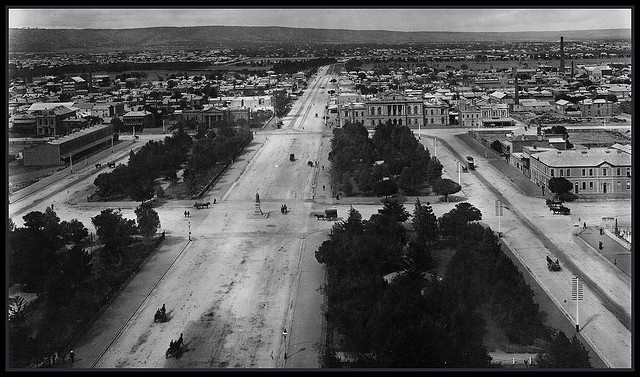 Victoria Square Adelaide 1895 SLSA B5311 Looking south over Victoria Square, Adelaide, from the Post Office clock tower. 1895. Photographer Ernest Gall.