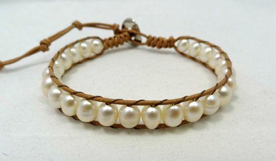 Cultured Freshwater Rice Pearls Leather Wrap Bracelet, Peals Wrap Bracelet by DeluxeSparkle