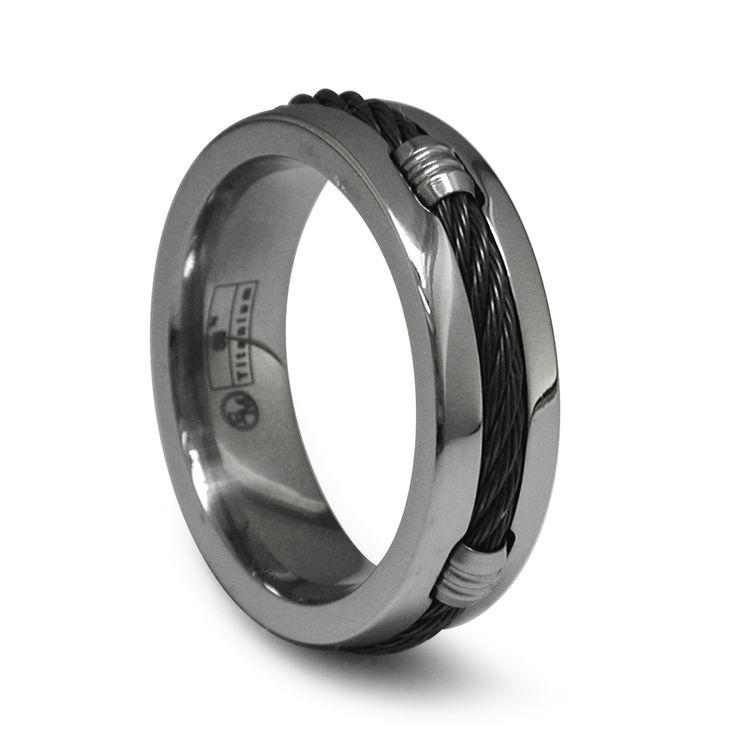 Fresh Cable Barrel Band mm Gray Titanium Ring Alpha Rings Men Wedding