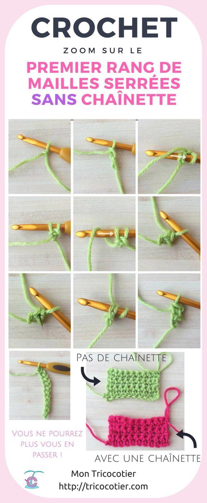 Marre de la chaînette 8 Cette méthode est pour vous ! Gros plan sur le premier rang de mailles serrées sans chaînette - Mon Tricocotier Technique crochet pour débutant sur tricocotier.com Infographie tuto en photos