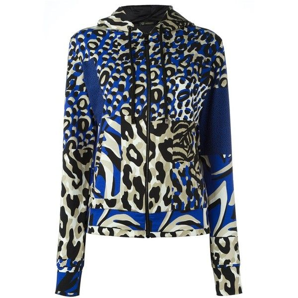 Versace 'Wild Patch' printed hoodie ($640) ❤ liked on Polyvore featuring tops, hoodies, blue, patterned hoodies, zip front hoodies, print hoodie, all over print hoodies and zip front hoodie