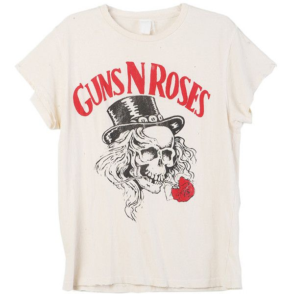 MadeWorn Guns N Roses Tee ($160) ❤ liked on Polyvore featuring tops, t-shirts, shirts, blusas, graphic tee, rose tops, white t shirt, tee-shirt, white tops and rose t shirt