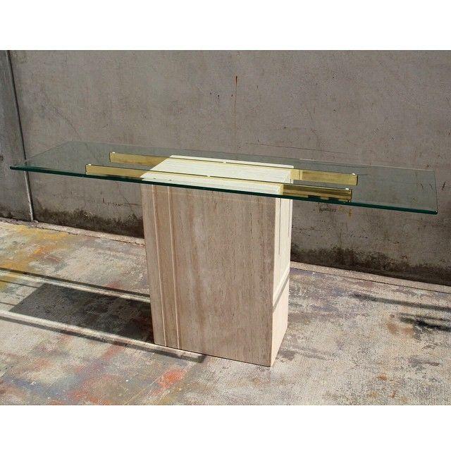 Ello Style Travertine And Glass Console Table Now For Sale! #Ellofurniture # Travertine #