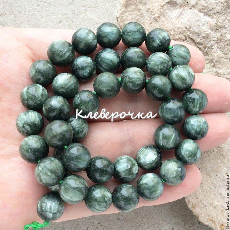 Купить Серафинит 10 мм клинохлор гладкий бусины камни для украшений - тёмно-зелёный