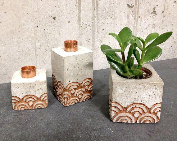 einzeln: Kerzenhalter oder Blumentopf aus Beton von Marschland