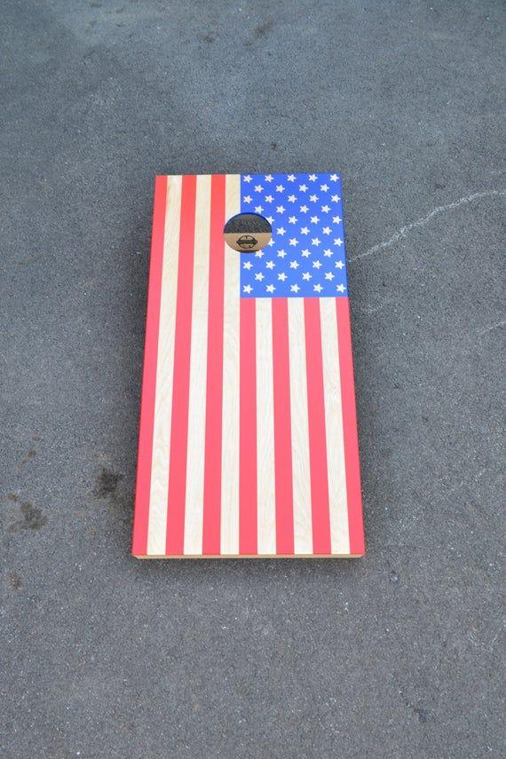 with monogram  American Flag  monogrammed cornhole boards  American flag bean bag toss American Flag Cornhole boards