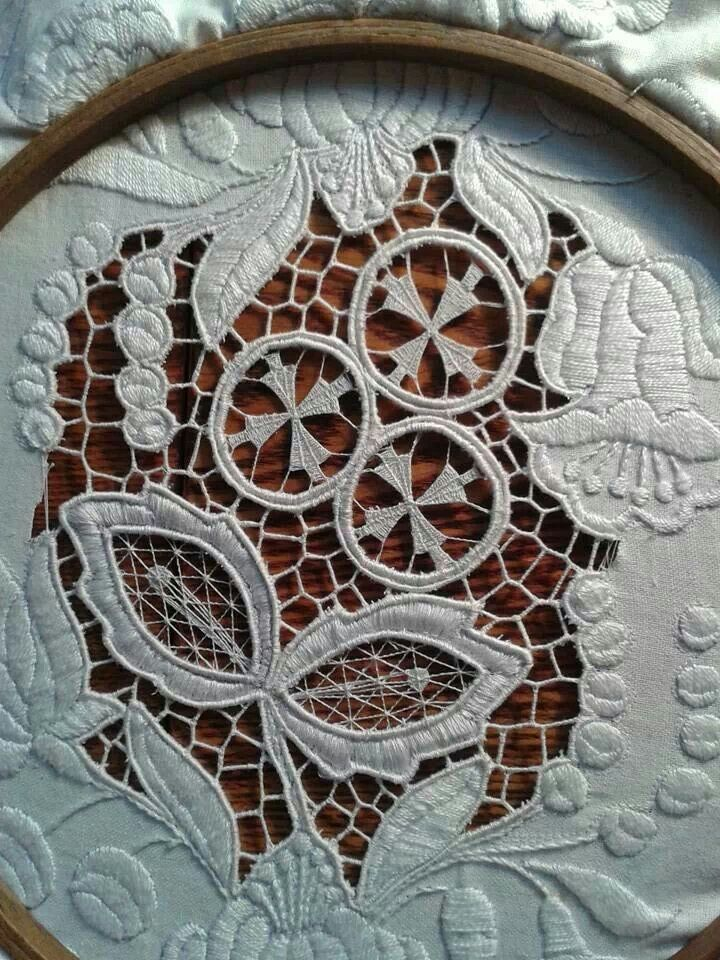 Stunning cutwork, needlelace and surface white embroidery (probable source…