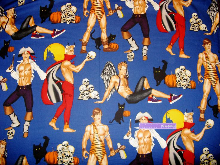 Halloween Hunks Men Devil Angel Pirate ++ Large Scale Cotton Fabric By The Yard by DaMommasTextiles on Etsy