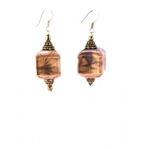 Antique copper acrylic boxes suspended between antique brass bead caps hanging on brass hypoallergenic hooks.