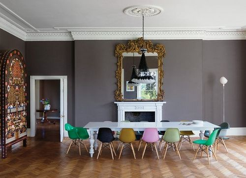 brilliant! multi-colored Eames chairs.