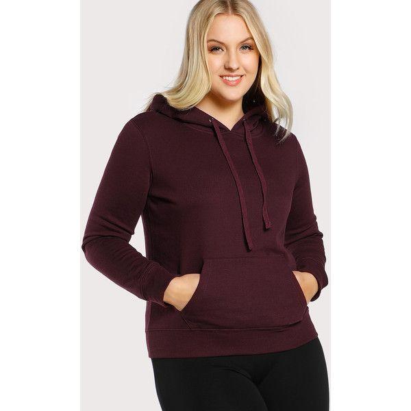 SheIn(sheinside) Pocket Detail Zip Up Hoodie ($21) ❤ liked on Polyvore featuring tops, hoodies, maroon, purple hoodie, plus size zip up hoodie, long sleeve hooded sweatshirt, zip up hooded sweatshirt and zip up hoodie