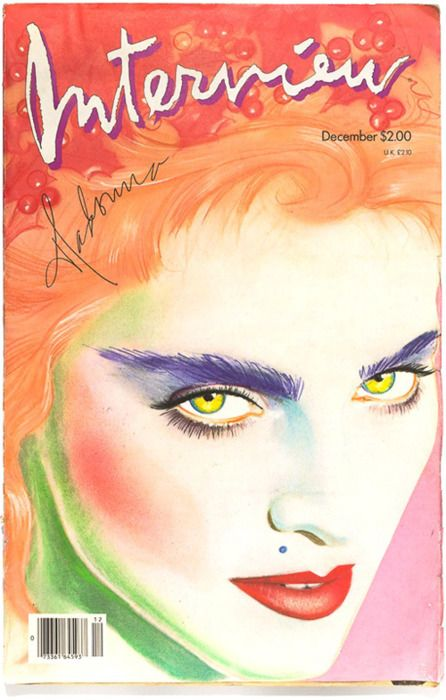 Richard Bernstein - Interview Magazine cover - (Week 4 - Eduardo) - December 1986 - Bronx, NY. Coloured Pencils, Pastels. The bold use of colours creates a very interesting and eye capturing illustration. This also plays to the stylisation created. The minimal use of shading creates the face contours well. The layers of application work well especially in the eyebrow.