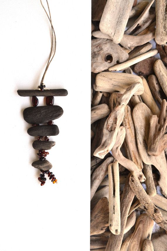 Handmade necklace from drift wood and natural Baltic Sea amber. $25.00, via Etsy.