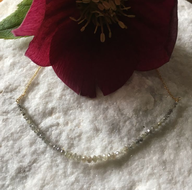 Lautrop jewellery necklace 18 carat gold and grey diamonds