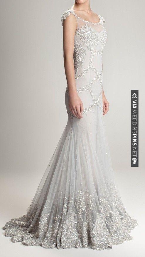 Gorgeous silver grey wedding gown with silver beaded detailing | Hamda Al Fahim F/W 12/13 | VIA #WEDDINGPINS.NET