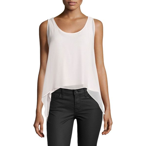 Philosophy Layered High-Low Tank ($25) ❤ liked on Polyvore featuring tops, spring ros, sleeveless tank tops, scoop neck sleeveless top, chiffon tank, scoop neck tank and layered tops