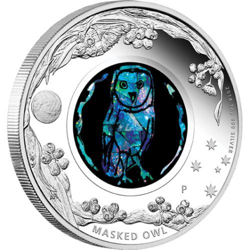 Australian Opal Series – Masked Owl 2014 1oz Silver Proof Coin | The Perth Mint