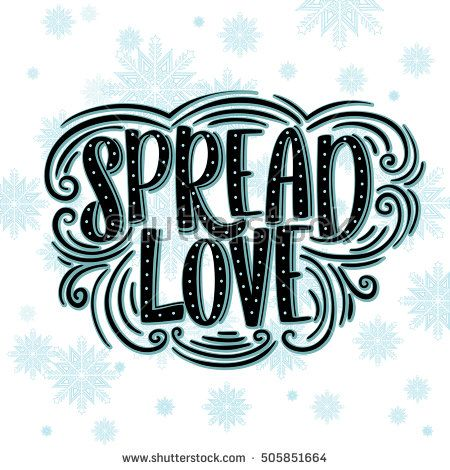 Spread Love greeting card lettering design red background.