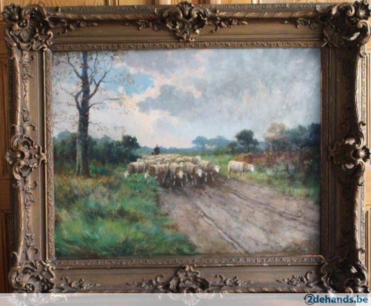 Groot olieverf schilderij van Frans de Beul ( 1849-1919).