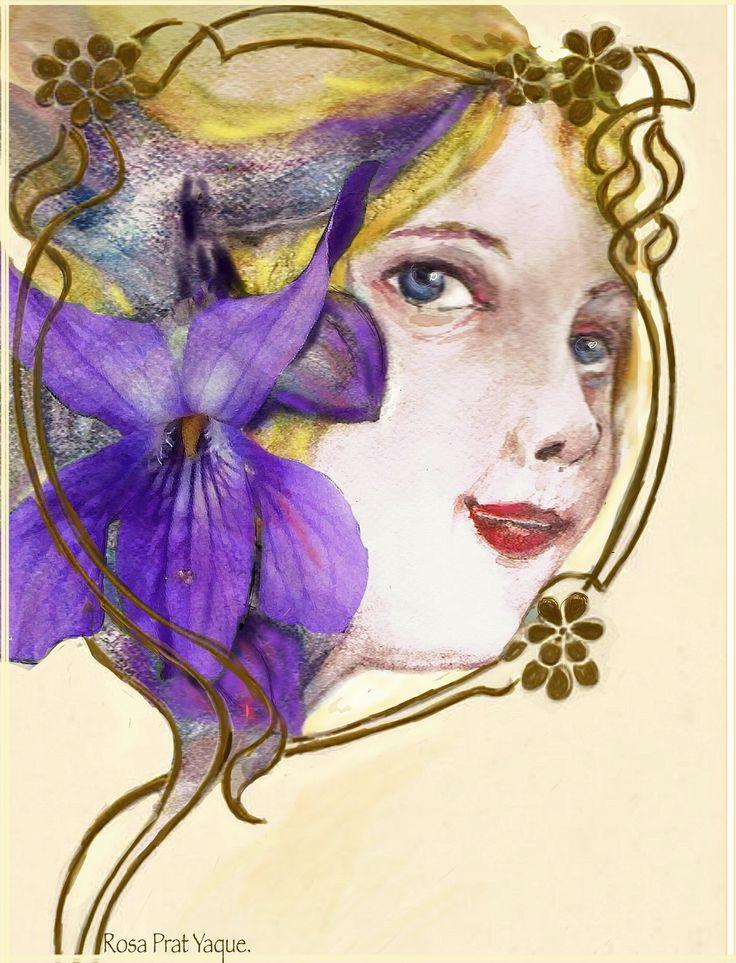 Las Violetas, Acuarela y dibujo digital de Rosa Prat Yaque.