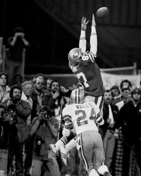 """The Catch"". Joe Montana to Dwight Clark against the Cowboys.The greatest photos ever taken at Candlestick Park. #FarewellCandlestick"