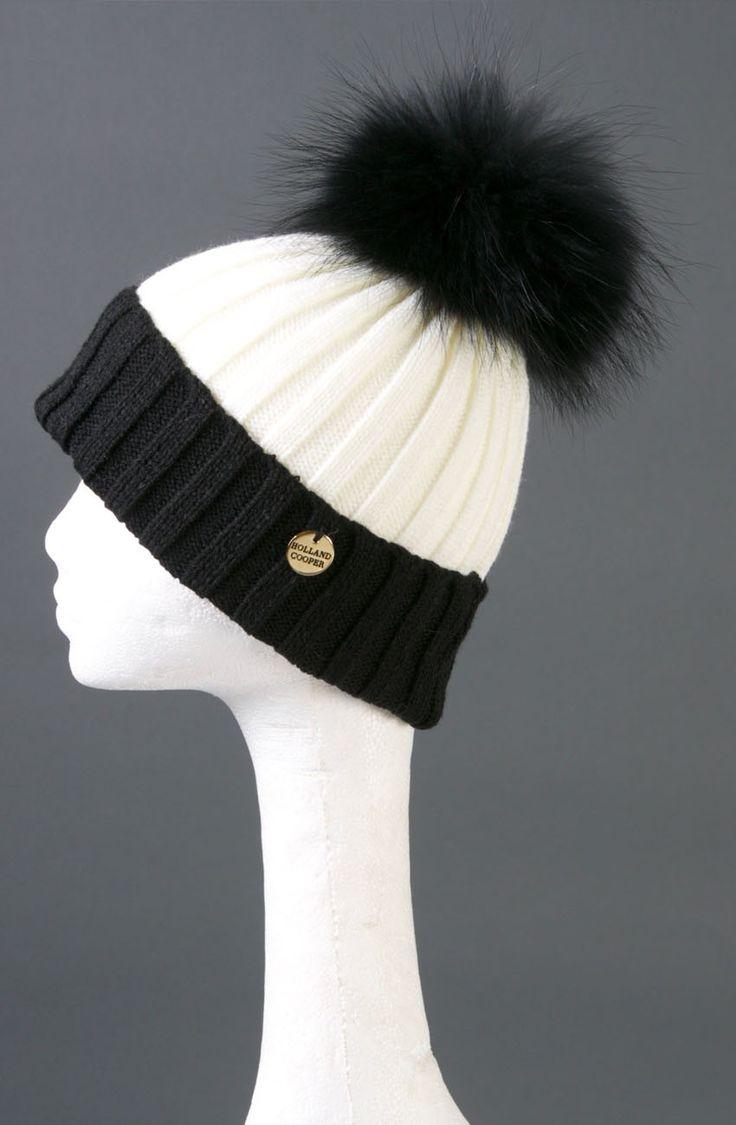 cream & black bobble hat holland cooper