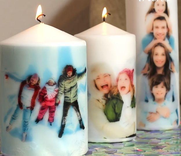 DIY Kerzen mit Fotos verzieren