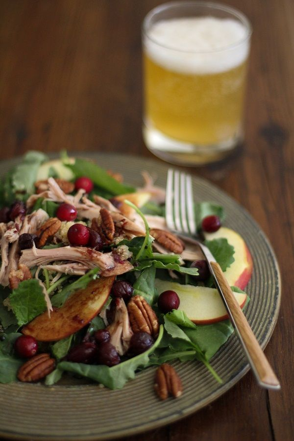 Thanksgiving Leftovers Salad with Cranberry Vinaigrette | www.theroastedroot.net