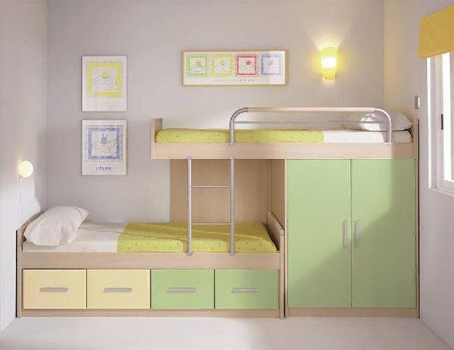 17 mejores ideas sobre chicos de camas dobles en pinterest - Habitaciones infantiles dobles poco espacio ...