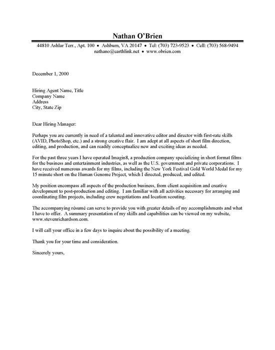 film producer cover letter - Film Production Cover Letter