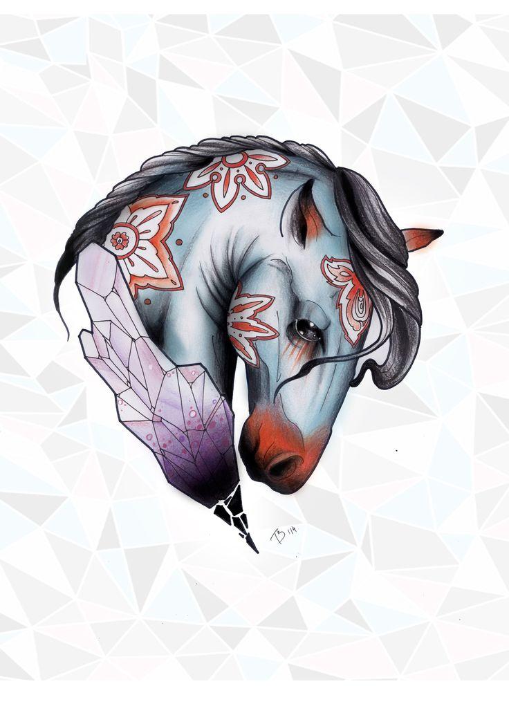 Bogi Tóth - crystal horse - FINE HEART CUSTOM INK https://www.facebook.com/FineHeartCustomInk