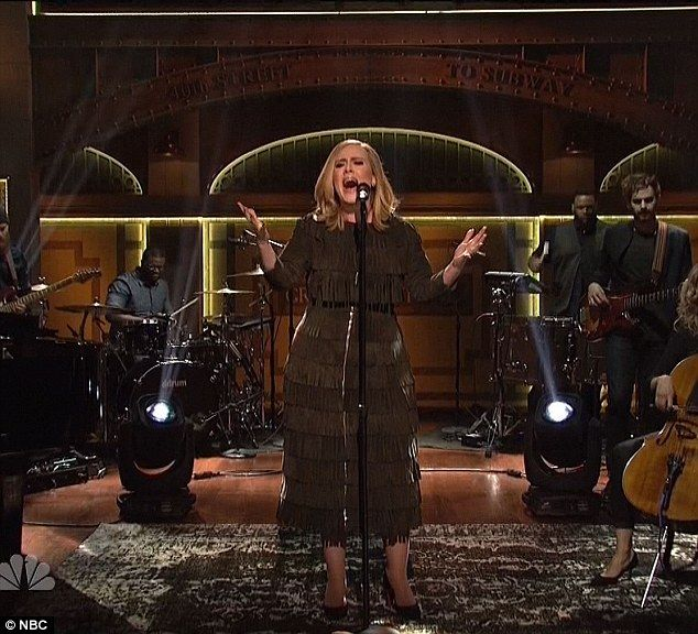 British beauty: Adele stunned fans with her slim new look while performing on Saturday Night Live