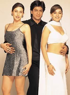 Karisma Kapoor as Nisha, Shah Rukh as Rahul and Madhuri Dixit as Pooja.