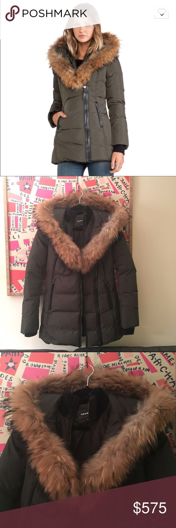 $750 Mackage Adali Down Coat Parka Fur XS Beware of fake Mackage! This is authentic. Racoon Fur hood. Filling is 90% duck down, 10% feathers. I've only worn this twice & decided it's not my style. In excellent condition. This style is sold out, but I originally paid $750 for it. Ready to give it a new home for this winter. I love how this is a shorter cut- much more feminine/flattering than some of the other parkas out there. Mackage is incredibly warm - this kept me nice and toasty when I…