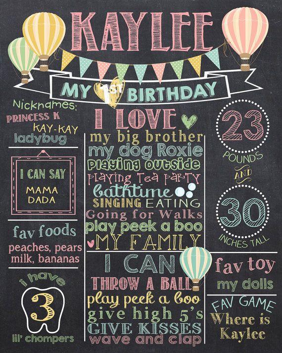 Aria calda palloncino primo compleanno lavagna Poster