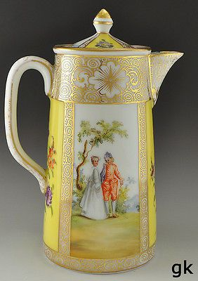 Gorgeous Antique Yellow, Gilded Dresden Porcelain Tea Pot With Courting And Floral Motif   c.1800's    | eBay