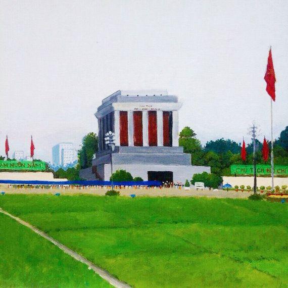Ho Chi Minh Mausoleum Hanoi Vietnam acrylic on by LaNebuleuse, $45.00