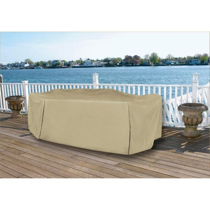 Durable Full Vinyl Premium Outdoor Round Patio Full Set Cover   Khaki,  Brown, Patio Part 85