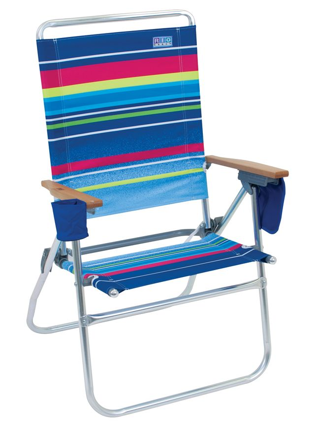 The Hi Boy Beach Chair, Aluminum Frame Tropical Lagoon Multi Stripe.and Is  Off The Ground.