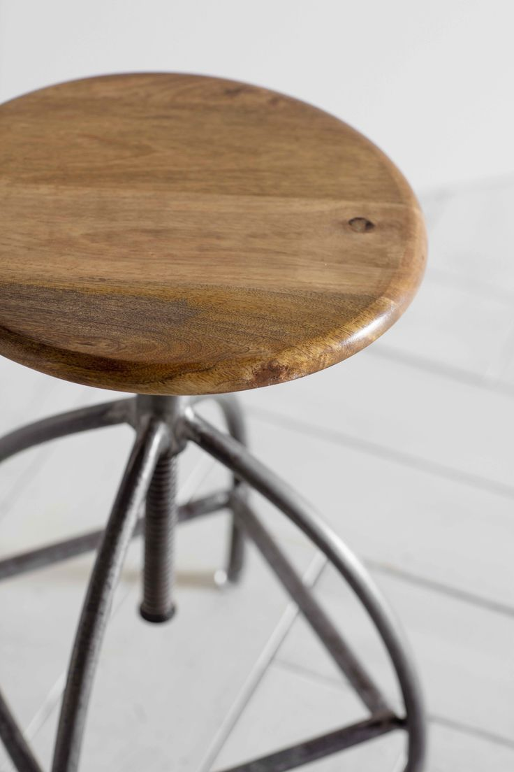Roscoe Stool - Wooden in an Industrial style