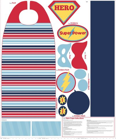 Red & Blue Super Hero Cape fabric dress up Panel by Riley Blake Designs #superhero #fabric