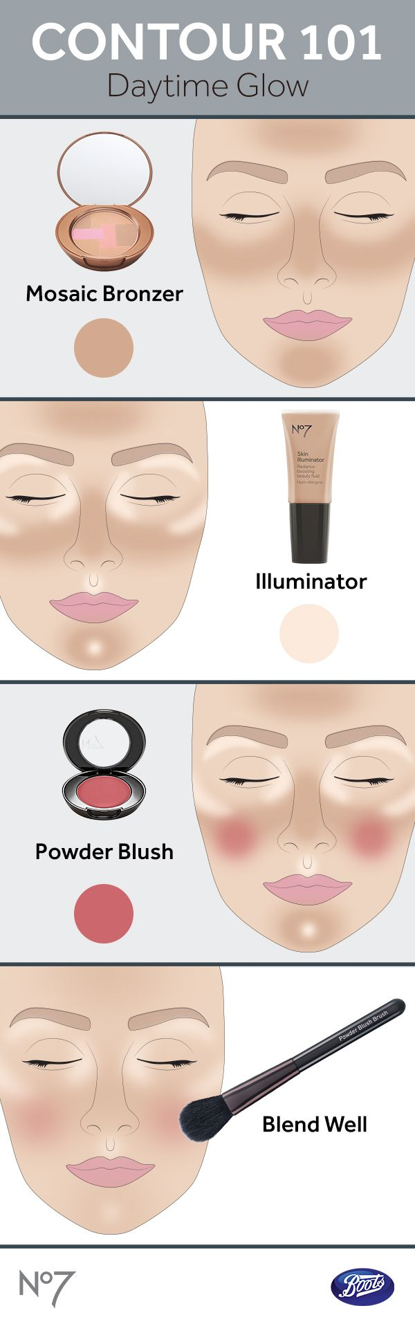 Follow this tutorial to get a bronzed, illuminating, well-blended daytime glow.