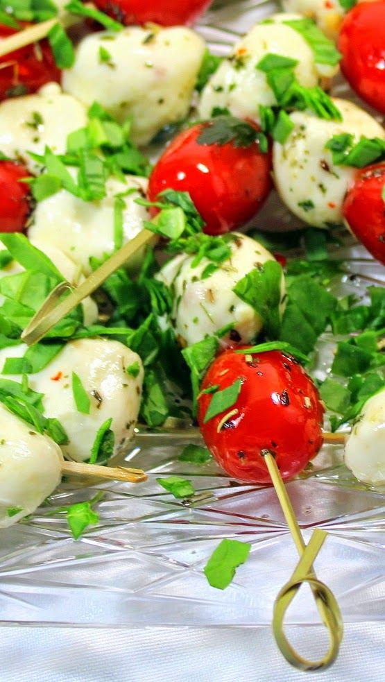Tomato and Mozzarella Caprese Salad on a Stick - 52 Appetizers Recipe... An Italian Classic gets a Party Appetizer on a Stick update.  Recipe includes a terrific flavored DIY Garlic and Herb Tutorial.  GREAT LOOK EASY, TO DO and DELICIOUS!