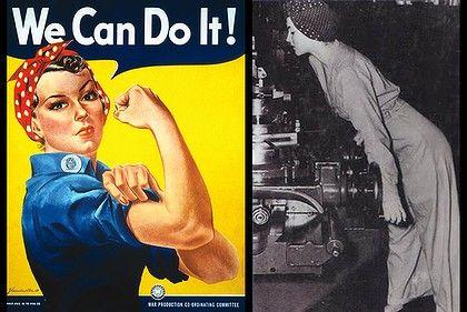 """El icónico """"podemos hacerlo"""" cartel que ofrece Rosie la remachadora (izquierda).  Geraldine Hoff Doyle fue la inspiración para Rosie la rema..."""
