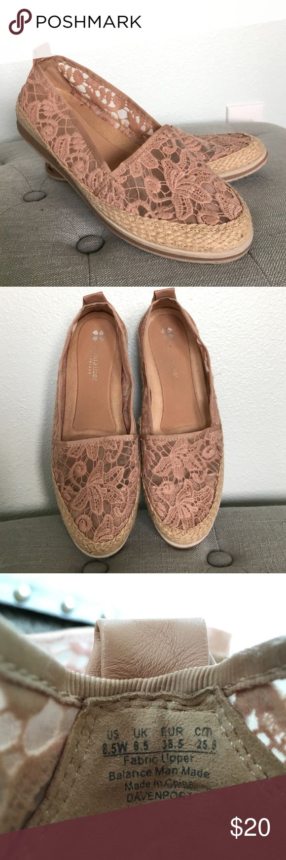Nude Lace Espadrilles Size 8.5W.  These nude espadrilles go with anything!  Very comfortable.  Worn once or twice, have a great small scuffs on the rubber soles. Naturalizer Shoes Espadrilles
