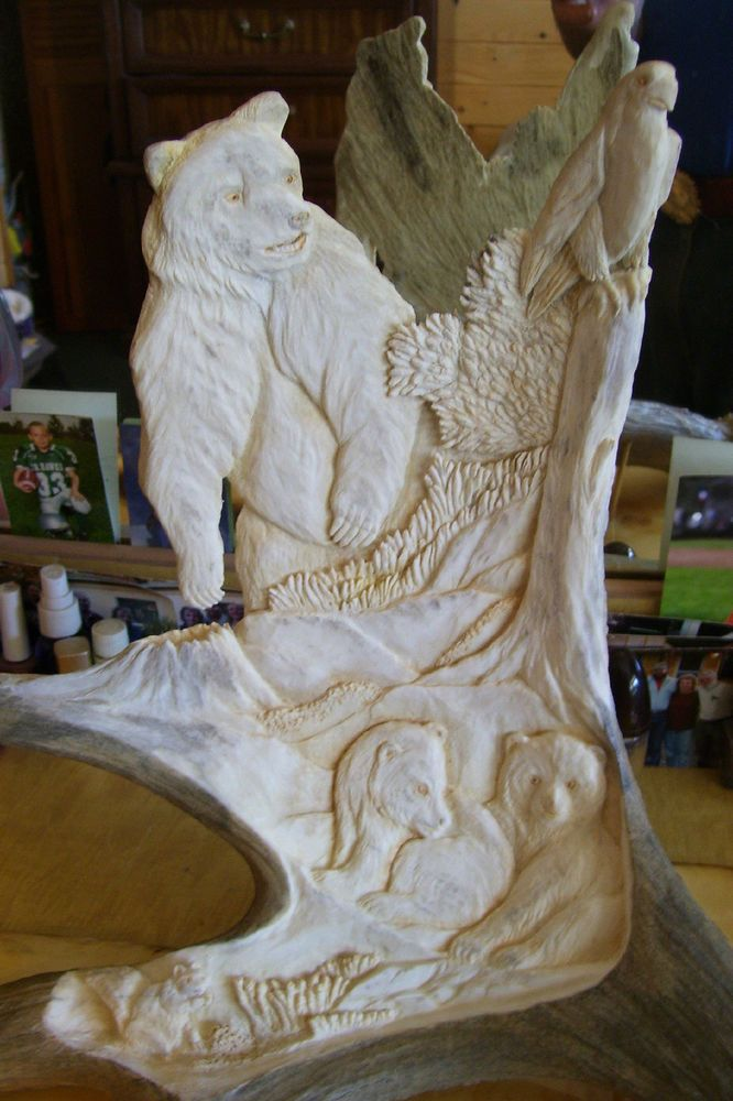 Grizzly With Cubs & Peregrine Falcon - Moose Antler Carving