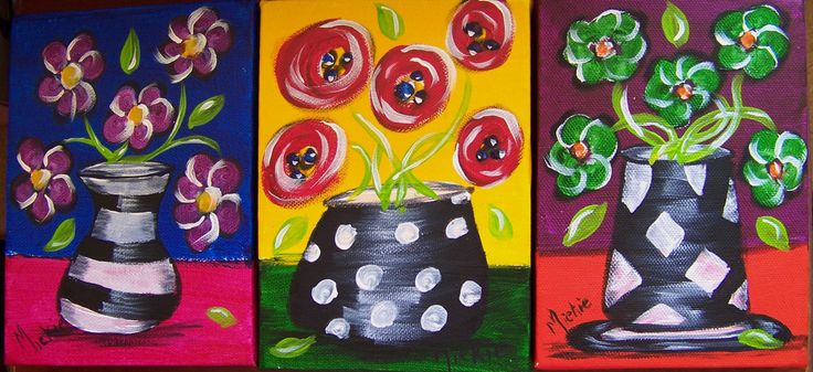 Trio of Black & White Vases. Set of 3 paintings in acrylic and ink on deep-frame canvasses.  13 x 18 cm. Set sells for R425. Contact Marietjie Uys at uys.marietjie@gmail.com. Free delivery in Gauteng.